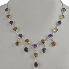 NEW STYLE 925 STERLING SILVER FANCY CITRINE & AMETHYST NECKLACE 26.18g NK0053 #Handmade #NECKLACE