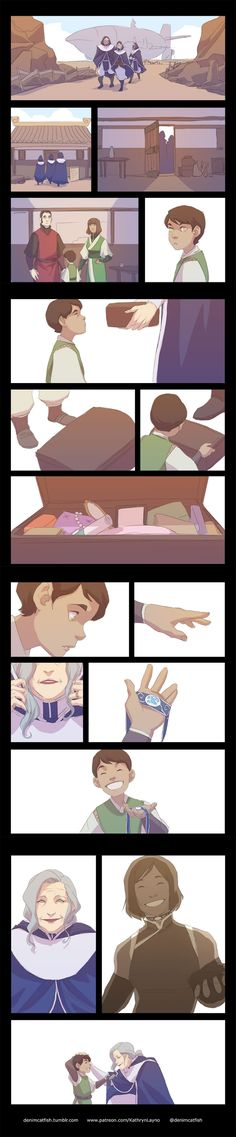 Y'all this made me feel a knot on my throat (;_;)  Korrasami | Korra | Asami Sato | The Legend of Korra  Official Post from Kathryn Layno: So I thought about how they found out Aang was the Avatar by presenting him with a set of toys when he was very young and he chose the one that belonged to his previous lives… Korra's the only Avatar that the next one will have a connection to. I didn't have any toys in mind so I used the betrothal