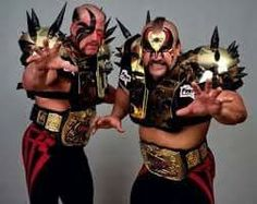 Rare pic of the WWF World Heavyweight Tag Team Champions the Legion of Doom with their gold spiked shoulder pads. Bruiser Brody, Wrestling Stars, Nwa Wrestling, The Road Warriors, Wrestling Superstars, Wwe Tna, Wwe Champions, Professional Wrestling, Classic Tv