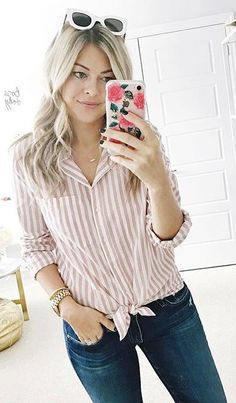 #spring #outfits / Pink Striped Shirt / Skinny Denim
