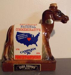 Ezra Brooks Whiskey Decanter Vintage USA Political Convention Donkey Bottle 1976 #EzraBrooks Whiskey Decanter, Perfume Atomizer, Vintage Perfume Bottles, Donkey, Antique Items, Usa, Donkeys, U.s. States