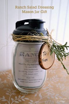 Ranch Salad Dressing Mason Jar Gift with Printable Recipe Tag - easy, inexpensive & useful! http://anoregoncottage.com/ranch-salad-dressing-mason-jar-gift/