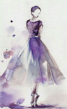 Ballerina Original Watercolor Painting Ballet Dance Watercolor Art Purple Scale: Medium: Saint-Petersburg Watercolors White Nights on Canson water color cold press paper 140 lb Signed, titled and dated on back. Not framed. All paintings are wrapped in a Easy Watercolor, Watercolor Drawing, Painting & Drawing, Watercolor Dancer, Watercolor Fashion, Dress Painting, Fashion Painting, Watercolor Artists, Watercolor Portraits