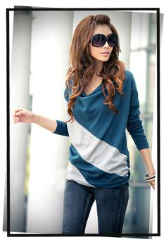 Free Shipping Dress New Fashion 2014 Autumn Winter Women Clothes Tees Woman Batwing Long Sleeve Striped T Shirts Causal Blouse-in T-Shirts f...