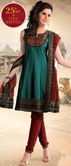 #Green Poly #Cotton Readymade #Churidar Kameez @ $ 87.12