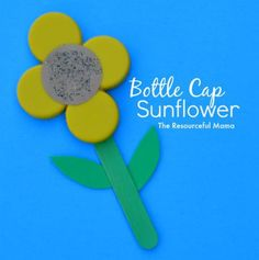 Kids craft bottle cap sunflower