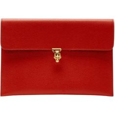 Alexander McQueen Red Small Skull Envelope Clutch (16 520 UAH) ❤ liked on Polyvore featuring bags, handbags, clutches, red, envelope clutch, envelope clutch bags, alexander mcqueen handbags, locking purse and skull clutches