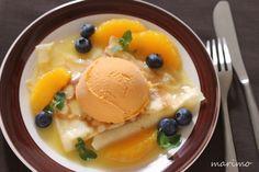 ★お菓子レシピ★ オレンジとマンゴーのクレープ : marimo cafe