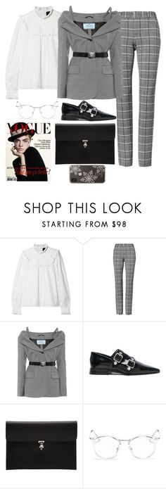 """""""9:06PM"""" by hxrrible ❤ liked on Polyvore featuring Needle & Thread, Prada, Victoria Beckham, Alexander McQueen, Ray-Ban and Kate Spade"""
