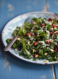 Raw Kale Salad with Balsamic & Pomegranate: bunch kale – tender leaves, Kosher salt and freshly ground pepper, mustard, balsamic vinegar, extra-virgin olive oil, pine nuts (toasted), pomegranate, goat's milk cheese