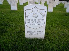 headstone of Alonzo Stokes, a medal of honor recipient from the Indian Wars