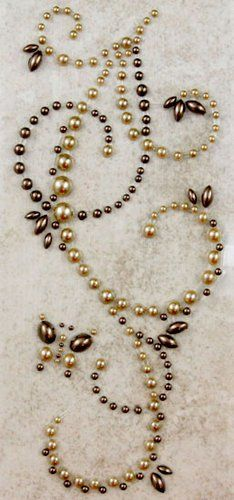 Prima - Say It In Pearls Collection - Self Adhesive Jewel Art - Bling - Butterfly Swirls - Brown