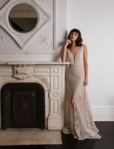 Ginsburg by Sarah Seven available at THE BRIDAL ATELIER www.thebridalatelier.com.au || Nude lace wedding dress with deep v neck front & low back with a fitted skirt, front split & sheer leg detail #sheisthebridalatelierbride With Love, TBA xo.