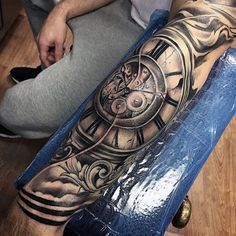 Mens Roman Numeral Clock Filigree Forearm Sleeve Tattoos
