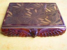 Scarce Antique Framus Compact Carved Bakelite Eagle Austrian Vintage Purse Case