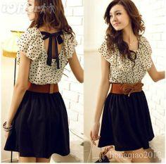 navy skirt, cream dotted blouse