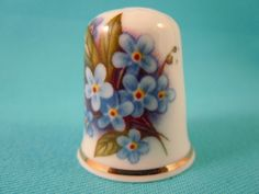 Thimble Bone China with Forget Me Nots | eBay