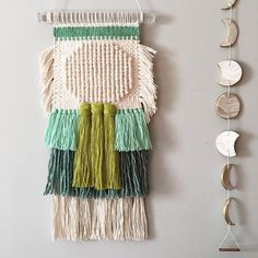 Woven wall hanging made by Rachel Denbow of Smile and Wave.