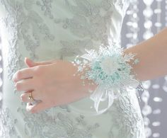 Wrist Corsage - Winter Snowflake- Aqua - Wedding Accessory for Mothers, Aunts, Sisters, Women - Holiday Wrist Corsage for Prom or Dance