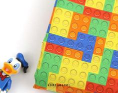 "Lego block fabric, Lego block pattern, 44""x35"", 100% Cotton 20s woven, DTP fabric, Colorful block print, Scandinavian fabric [#S0184]"