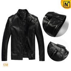 Leather Motorcycle Jacket Men's Black Sheepskin Epaulets Leather Jacket CW809041 $448.89 - www.cwmalls.com