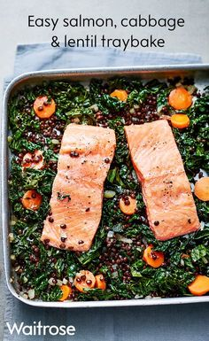 Add a little freshness to your diet with our gluten-free salmon, cabbage and lentil traybake. Serve with a dollop of lemony yogurt and extra lemon wedges. See the Waitrose website for the full recipe.