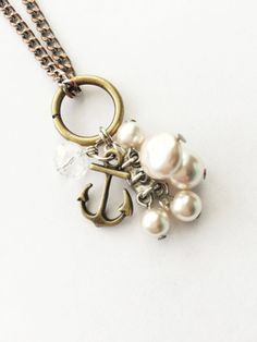 Upcycled Charm Necklace: Antique Bronze Anchor by Five17Designs