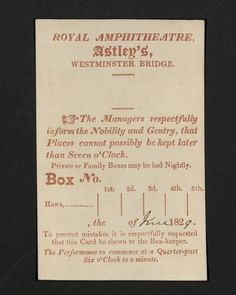 History of Performing Arts Tickets -  Picture: Box Ticket, Astley's Royal Amphitheatre, Harvard Theatre Collection