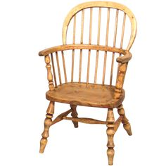 "A nineteenth century English bleached elm spindle back Windsor child's chair of typical form. Circa 1880.  H. 23 1/2"" D. 11"" W. 15""  $495"