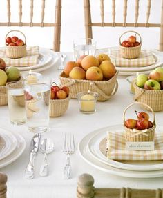 Nantucket baskets || gingham linens || fresh fruit || fabulous chairs ~ LOVING all of this for summer !!!!