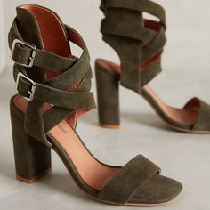 Jeffery Campbell olive green suede strappy heels