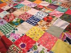 Inspiration for the patchwork picnic blanket I want to make. .vintage fabric squares quilt: very pretty, very easy, very soft, very lovely