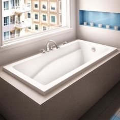 Alcove Caprice Podium Bathtub - Tubs & More Plumbing Showroom Unclog Bathtub Drain, Soaking Bathtubs, Bathroom Kids, Shower Doors, Guest Bath, Beautiful Bathrooms, Exterior Colors, Corner Bathtub, Plumbing