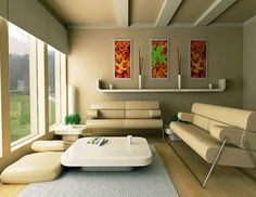 simple living room with light brown paint and white low table also plush modern sofas