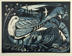 Sea Change Linocut by Mark Hearld Art And Illustration, Linocut Prints, Art Prints, Block Prints, Wood Engraving, Wildlife Art, Woodblock Print, Bird Art, Painting & Drawing