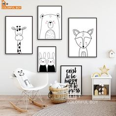 posters zwart wit on sale at reasonable prices, buy COLORFULBOY Konijn Beer Giraffe Fox Wall Art Print Canvas Schilderij Nordic Poster Zwart Wit Muur Pictures Baby Kinderkamer Decor from mobile site on Aliexpress Now! Baby Bedroom, Baby Boy Rooms, Baby Room Decor, Nursery Room, Girls Bedroom, Nursery Decor, Bedroom Ideas, Bedroom Black, Nursery Prints