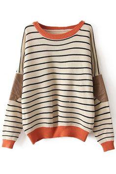 New Fashion Cream Striped Bat Sleeve Sweater &Cardigan only $33