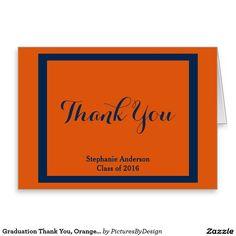 Graduation Thank You, Orange/Navy Personalized (2) Stationery Note Card