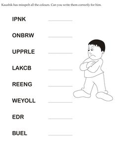Download english activity worksheet Kaushik has misspelt all the colours. Can you write them correctly for him from bestcoloringpages.com
