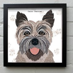 This unique Cairn Terrier print fits well in any interior and will bring a smile to your face and brighten up your home!. These Dog artworks are taken from the Pawtraits range of illustrations by artist Simon Hart created in collage using tweed fabrics and vintage papers. They look