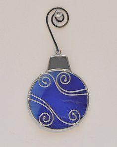 ROUND CHRISTMAS ORNAMENT Hand Made Deep Blue Swirly Stained Glass Christmas Ornament with Stylized Wire Embellishments on Etsy, $13.00