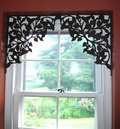 Use decorative shelf brackets in upper corners of a window or doorway. For your windows that you don't want to hide with curtains. - Decoration for House Casa Steampunk, Window Dressings, Window Coverings, Small Window Treatments, Kitchen Window Treatments With Blinds, Bedroom Window Treatments, Victorian Window Treatments, Home Projects, Diy Home Decor