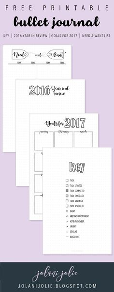 Free Bullet Journal Printables: Key, 2016 Year in Review, Goals for 2017, Need & Want List - Jolani Jolie