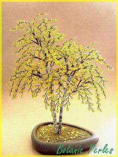 Arbres en perles Bouleaux jaunes - couleur automne : Accessoires de maison par botanic-perles
