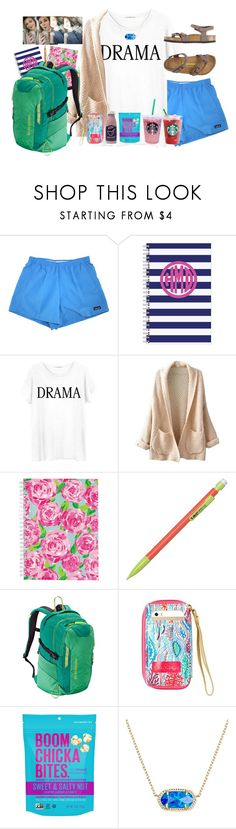 """early morning starbucks run"" by livnewell ❤ liked on Polyvore featuring Patagonia, Junk Food Clothing, WithChic, Lilly Pulitzer, Kendra Scott and Birkenstock"