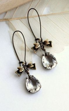 Vintage Glass Pear with Ribbon Bow Earrings