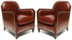 French Art Deco Club Chairs, Pair Macassar Ebony, Skyscraper Design Re-upholstered; down filled cushions Mid-century Modern, Contemporary, Club Chairs, Art Deco Fashion, Cool Furniture, Accent Chairs, Armchair, French Art, Mid Century