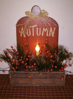 Autumn planter with light-I Luv Country Decor!!