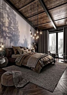 For those looking to make their bedroom look good, adopting a modern bedroom design style isn't actually a bad idea. Here are some easy ways you can redo your bedroom Design bedroom Easy Ways To Remodel A Modern Bedroom + 50 HD Pictures - House Topics Modern Bedroom Design, Home Interior Design, Bedroom Designs, Industrial Bedroom Design, Modern Bedrooms, Modern Cabin Interior, Dark Bedrooms, Modern Room, Industrial Chic Decor