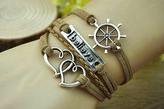 brown charm braceletsilvery alloy lovecompassbrown by Richardwu, $5.50